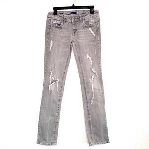 Vigoss Gray Distressed Straight Leg Jeans